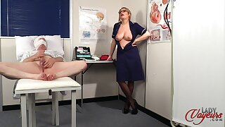 Naughty nurse Penny Lee strips to help her patient ejaculate